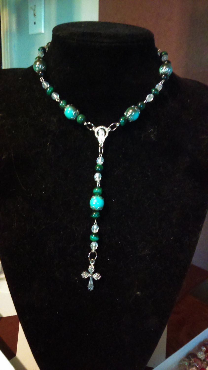 Here Pretty Green Rosary Bead Necklace by BlueeyesJewelryShop on Etsy