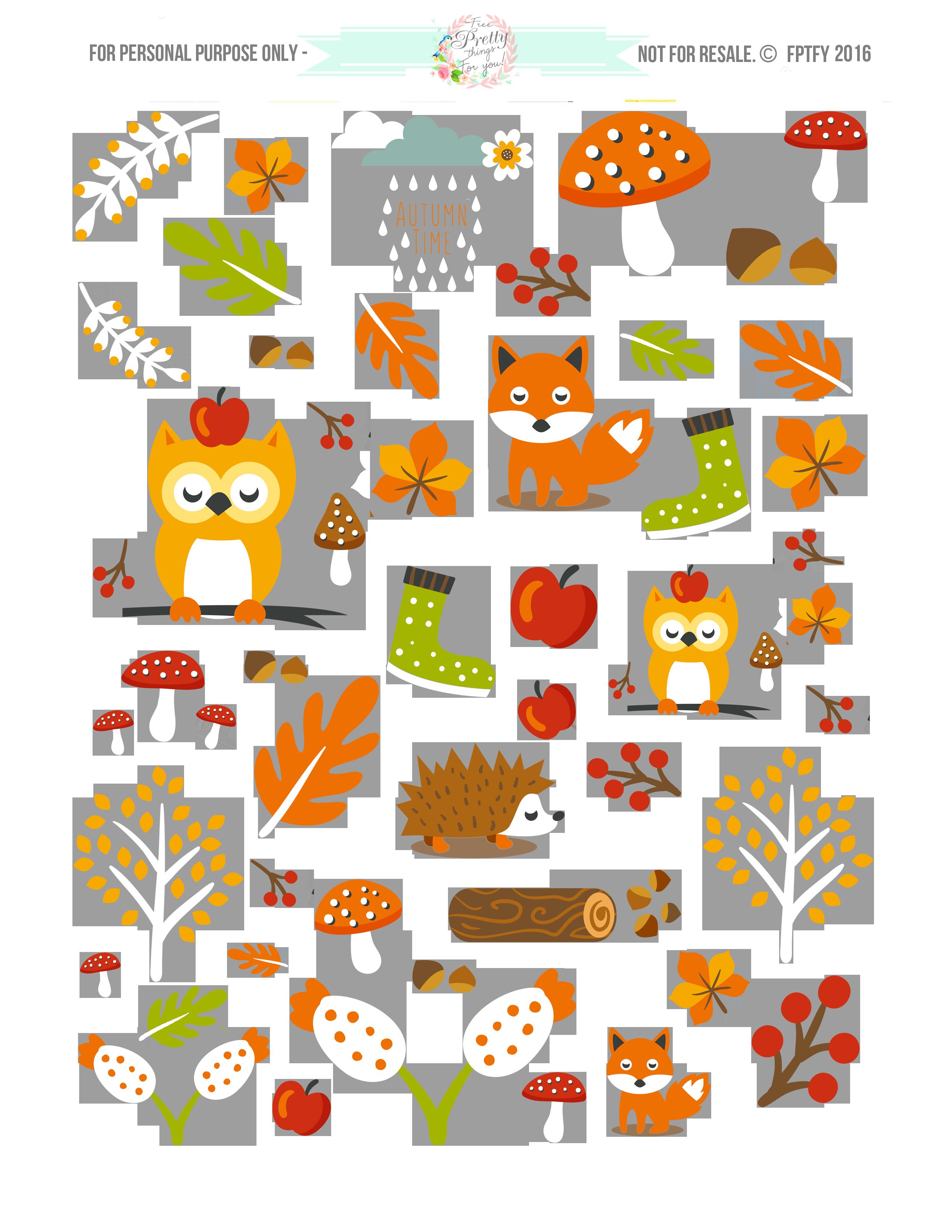 AutumnAnimalsPlannerStickers1.png (2550×3300) PNG