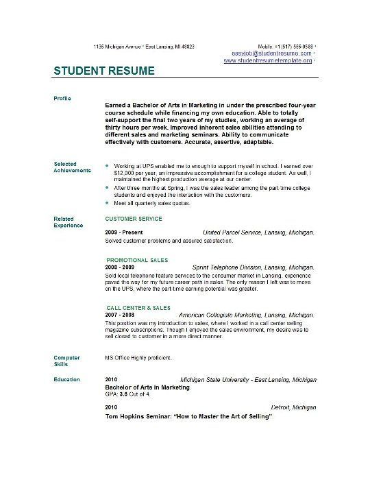 Example Of College Student Resume Templates Writing