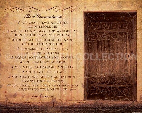 The 10 Commandments - Scripture Wall Art - Catholic Art - Christian ...