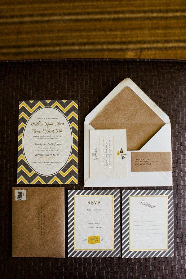 chevron and stripes galore on these invitations by http://www.funisok.com/  Photography by angiewilsonphotography.com