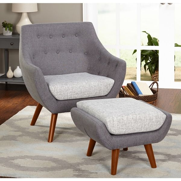 Simple Living Elijah Mid Century Gray Chair And Ottoman Set With