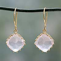 Gold vermeil rose quartz dangle earrings, 'Eternal Romance'