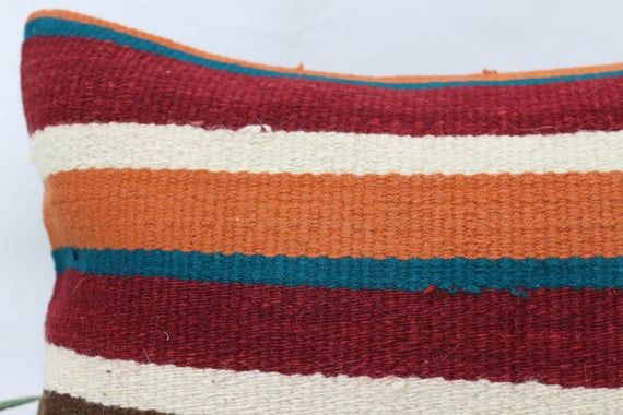 12x20 Traditional Kilim Pillow, Natural Pillow,Lumbar Pillow Covers, Striped Pillow, Orange Pillow,G