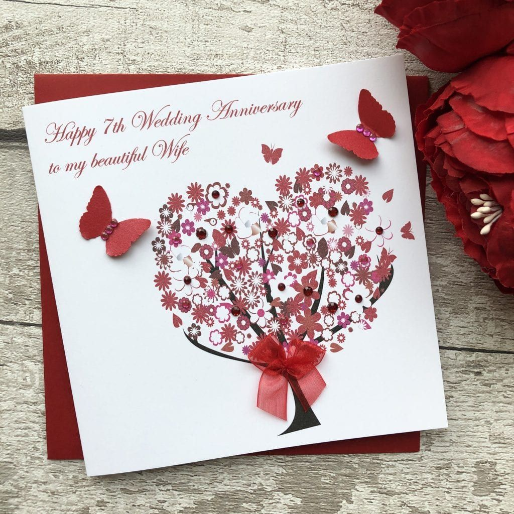 Handmade Wedding Anniversary Card Floral Tree Handmade Cards Happy