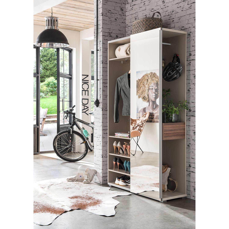 Moderner Garderobenschrank Hamme Von Mooved   Grau / Nussbaum Der Marke  Mooved Mit Schiebetür . Die