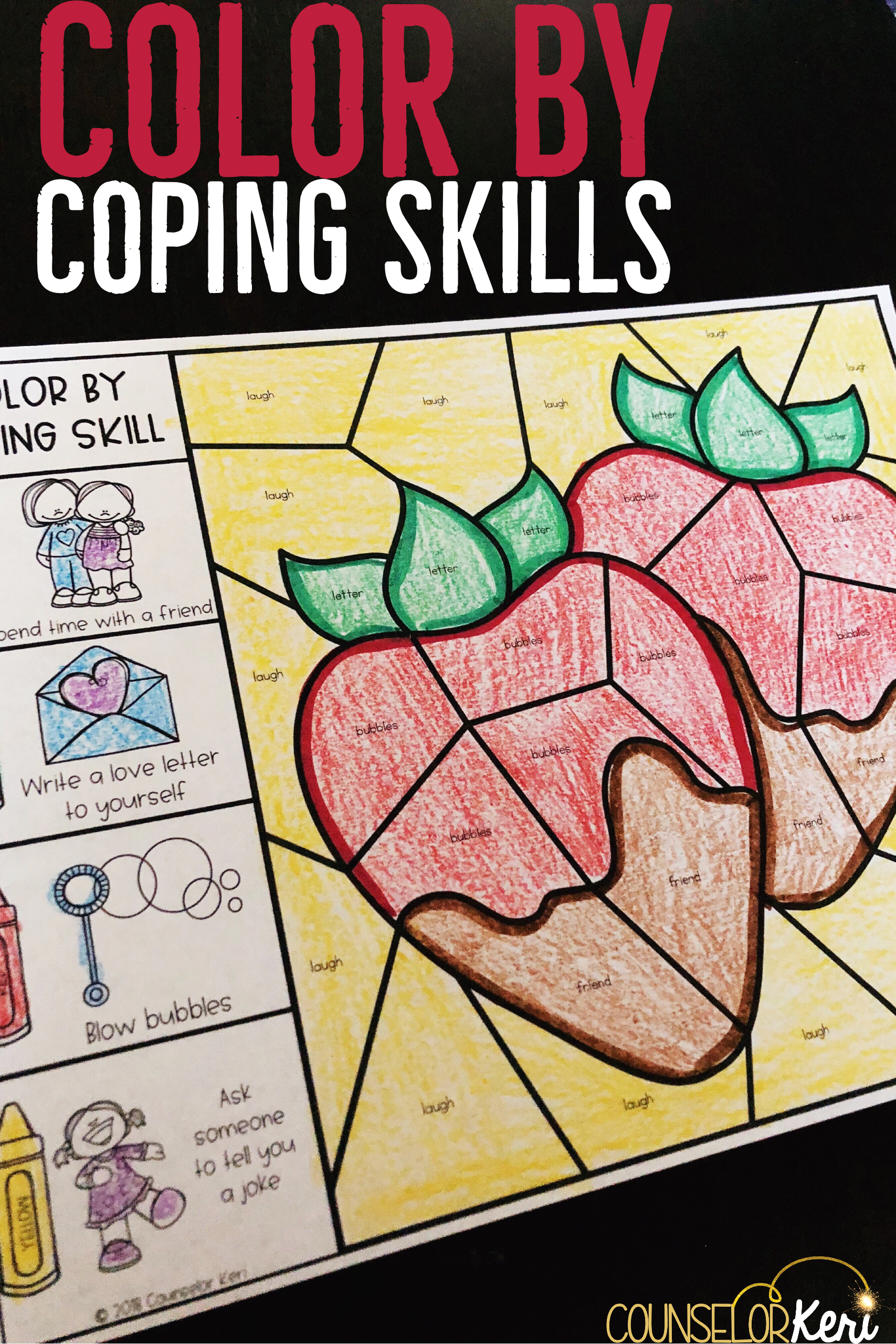 Color By Coping Skills Valentine S Day Activity For Elementary School Counseling