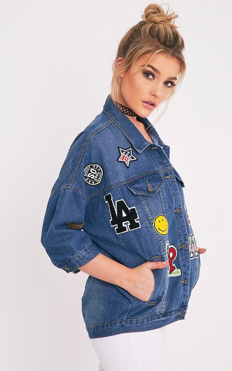 cc79e857f6 Raquisha Mid Wash Badge Detail Over Sized Jacket Image 4 Jacket Images