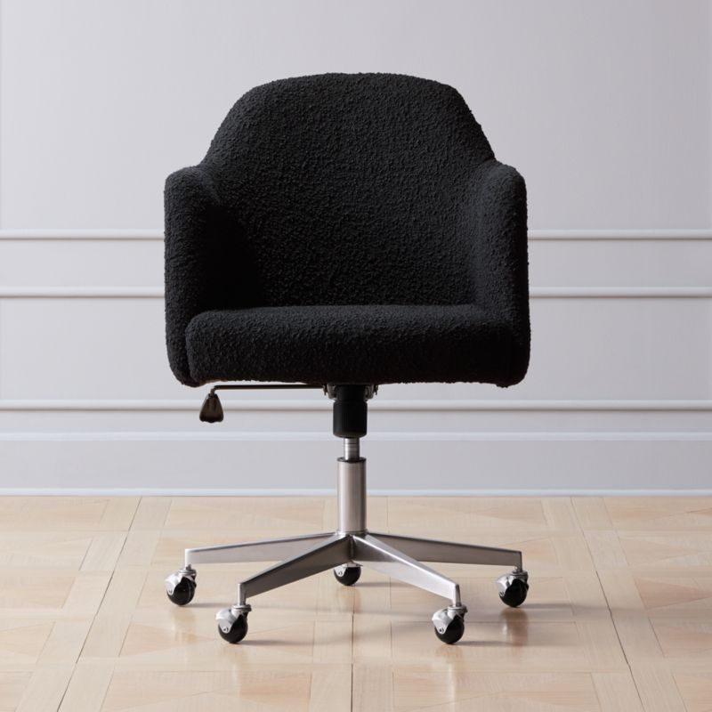Shop Miles Black Boucle Office Chair Work In Style With This
