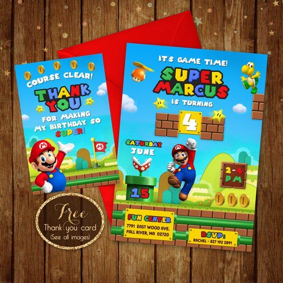 List Of Pinterest Super Mario Party Invitations Thank You Cards