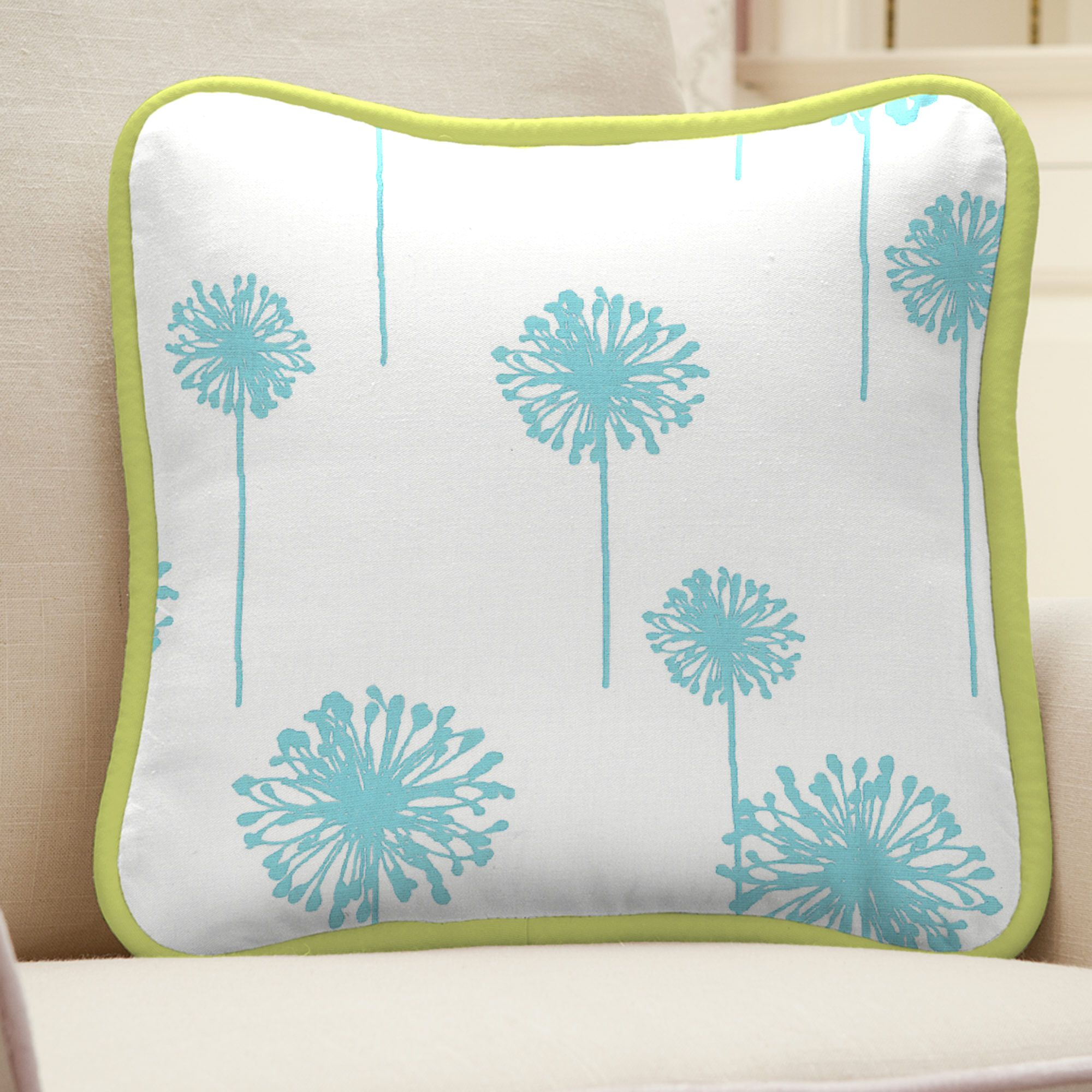 Aqua Dandelion Square Decorative Pillow carouseldesigns