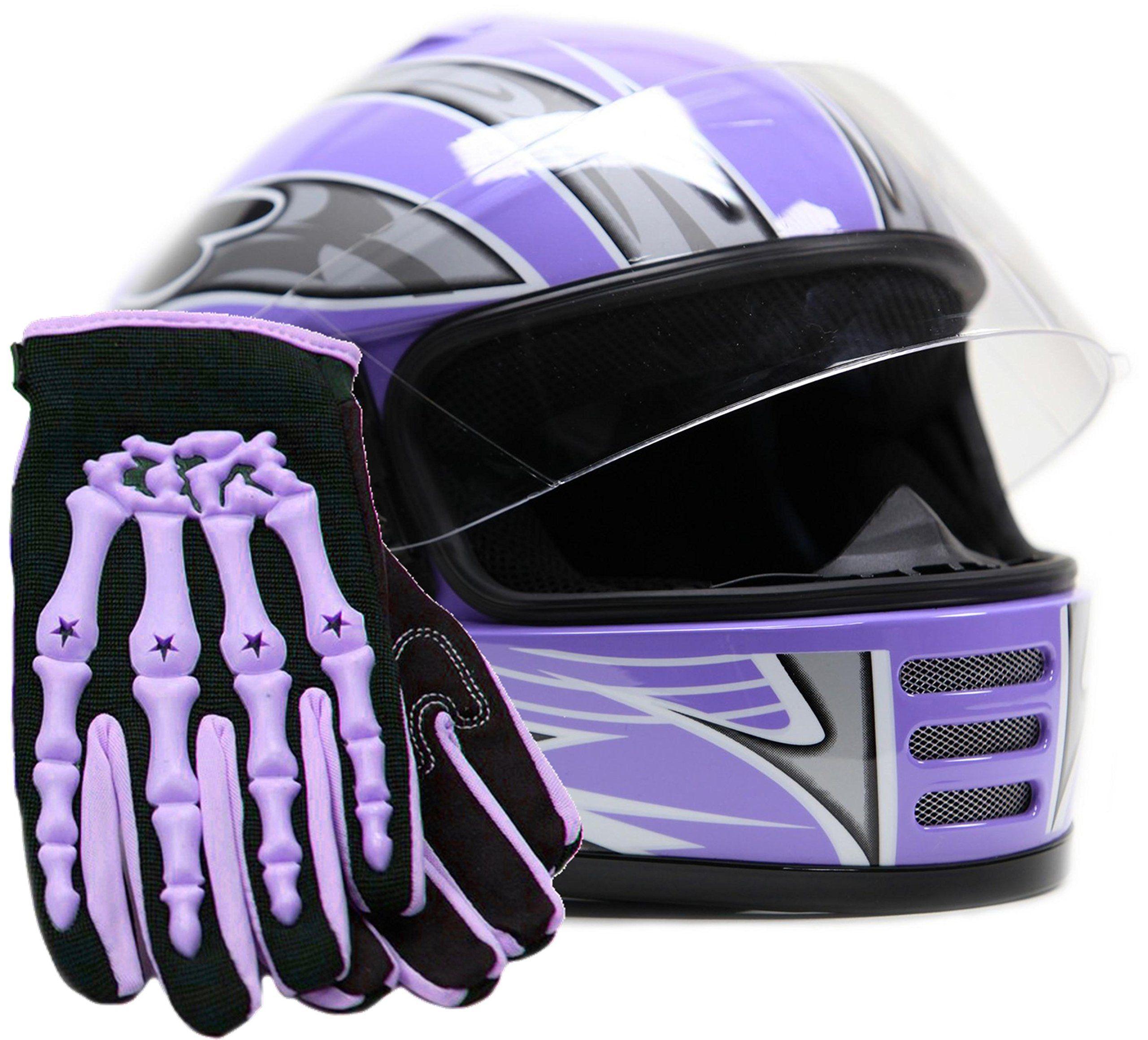 Youth helmet u gloves motorcycle combo full face purple medium