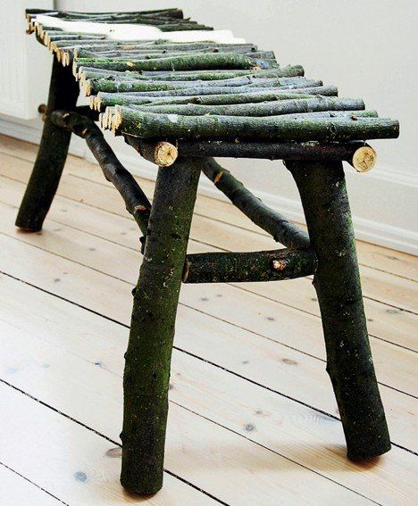 Twig Bench For The Front Entry Under The Kids Cubbies