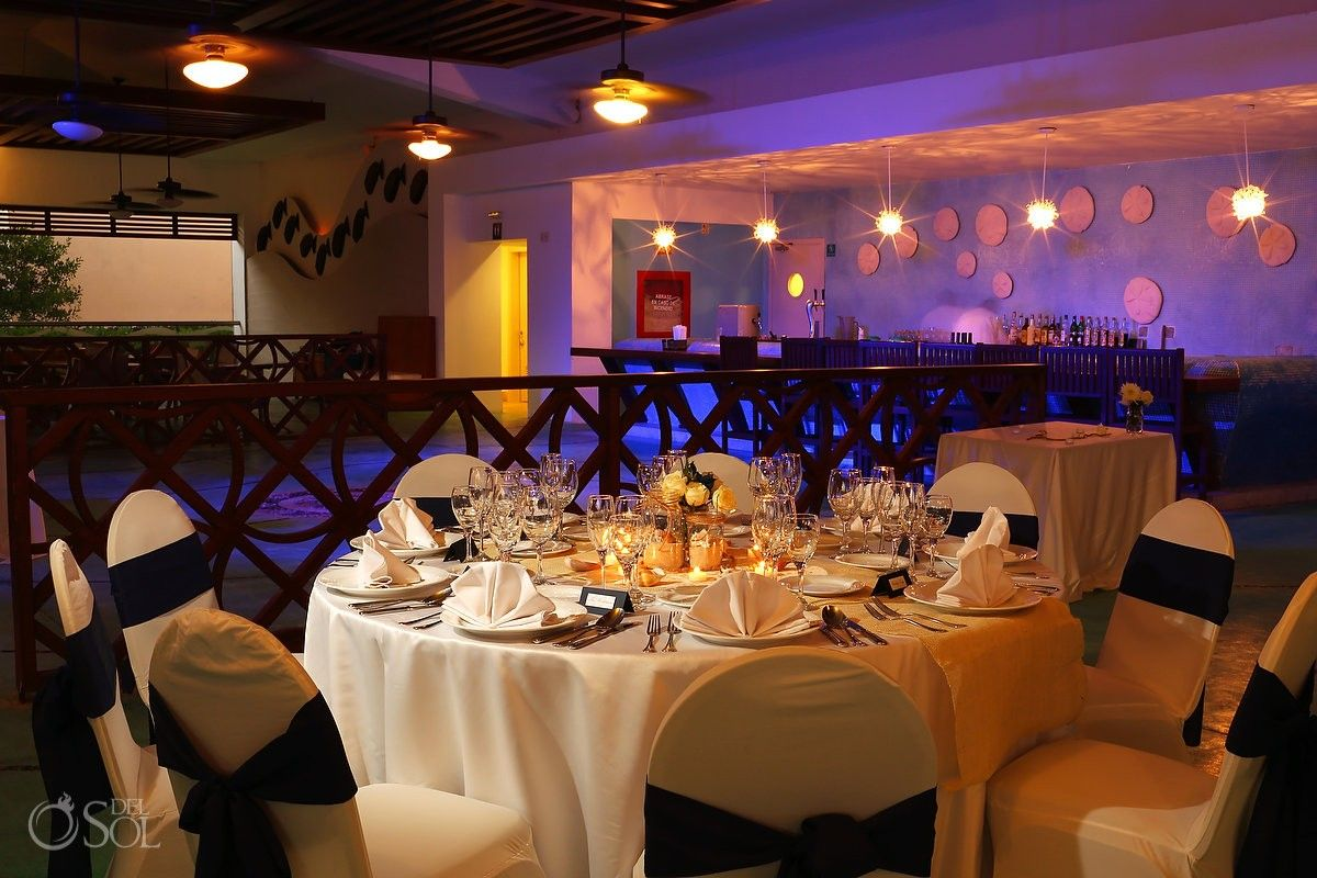Beach Wedding at Now Jade Riviera Maya, pretty table set-ups for a reception