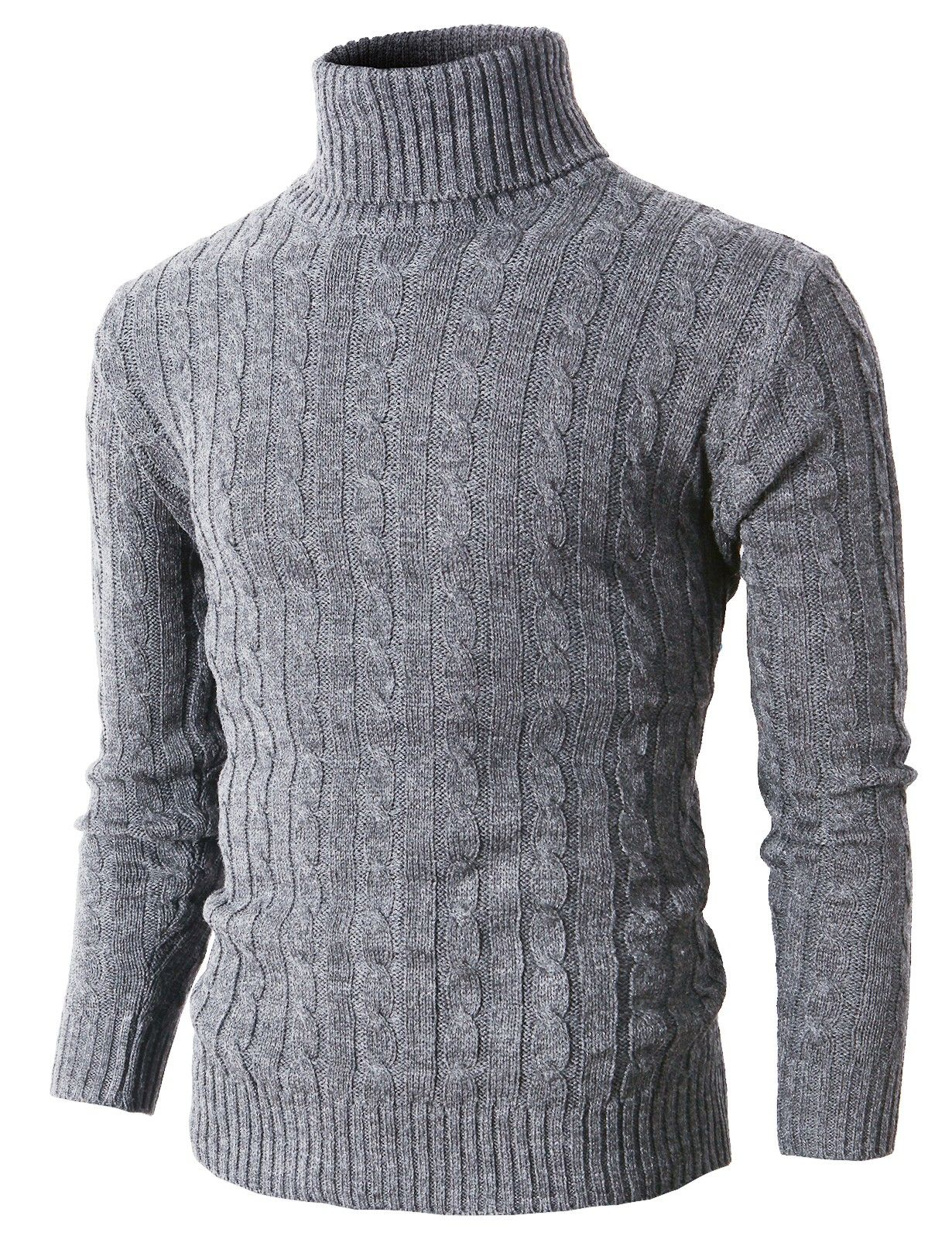 Domple Mens Turtleneck Pullover Long Sleeve Warm Winter Cable Twist Casual Sweater