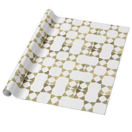 Modern Gold Faux Foil Geometric Pattern Paper Roll Pattern