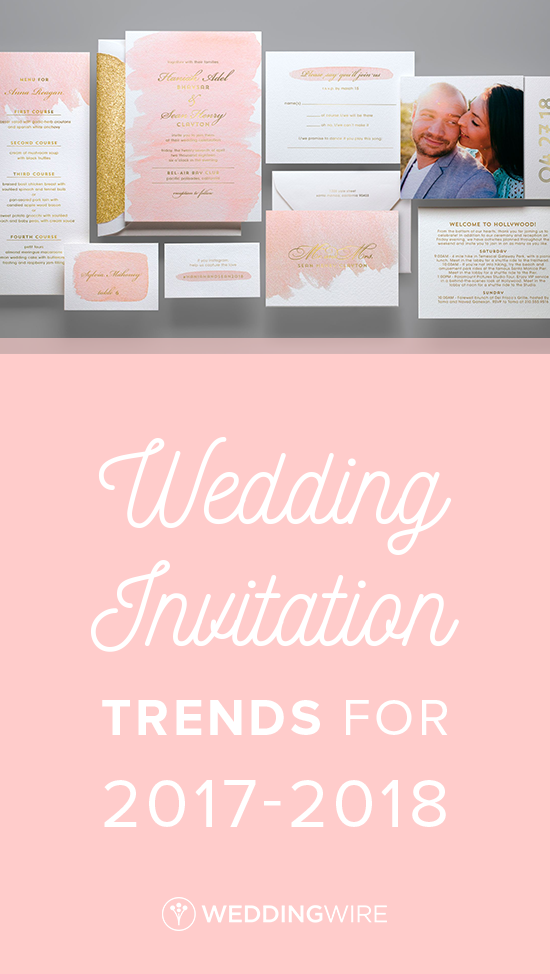 Wedding Invitation Trends for 2017-2018 - From metallics to marbles, see all of the new wedding invitation trends on @weddingwire! {Kleinfeld Paper}