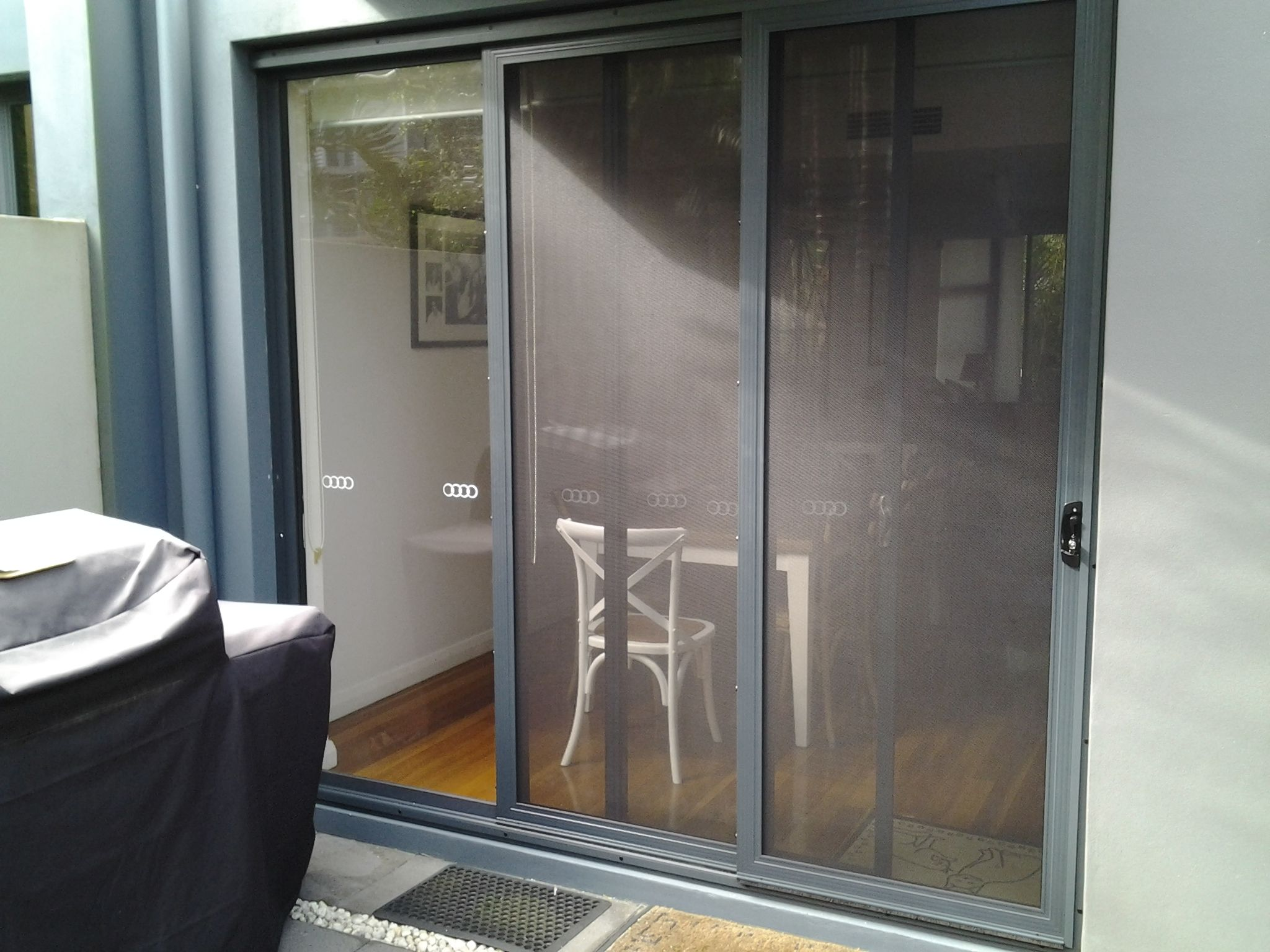 SecureView Modern Sliding Security Screen Door Stainless Steel Mesh ...