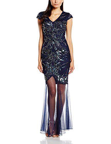 Frock and Frill Damen Kleid Odalis Sequin Maxi, Gr. 38, Blau – Blau ...