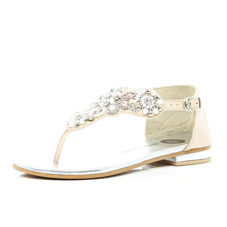 cream pearl and rhinestone sandals