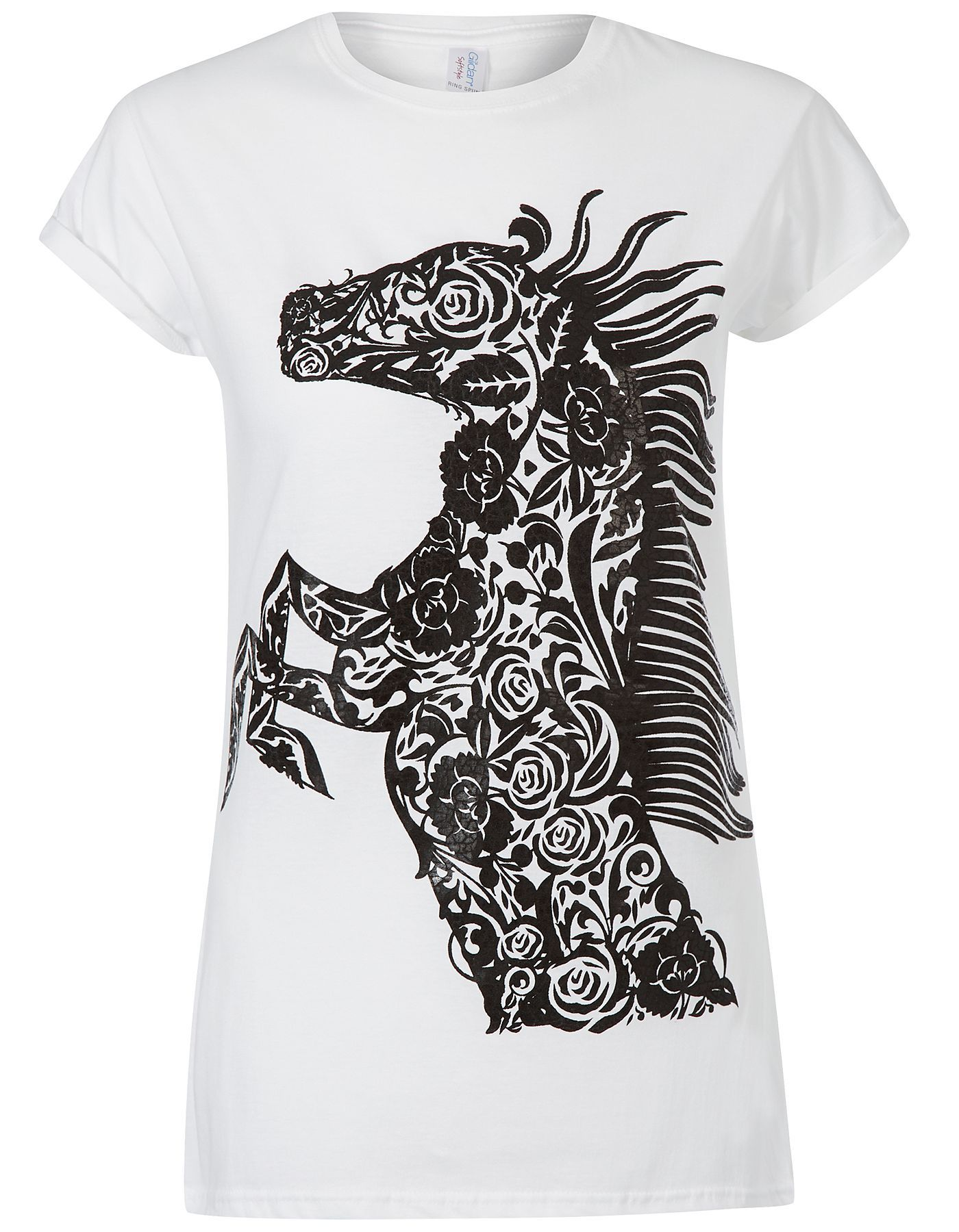 Black t shirt asda - Wet Look Horse Print T Shirt Women George At Asda