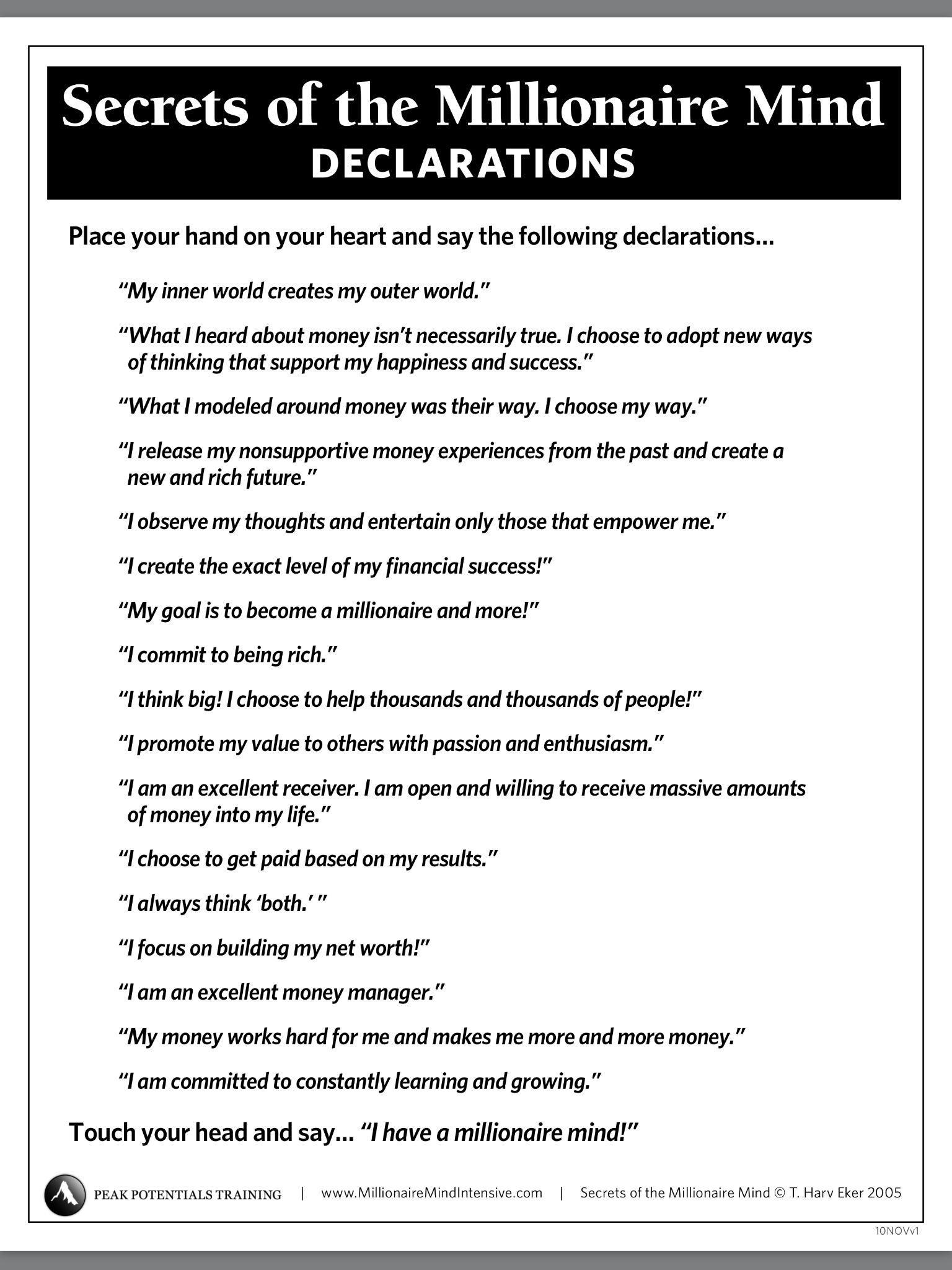 Secrets of a Millionaire Mind   Declarations   Pinterest   Boss babe