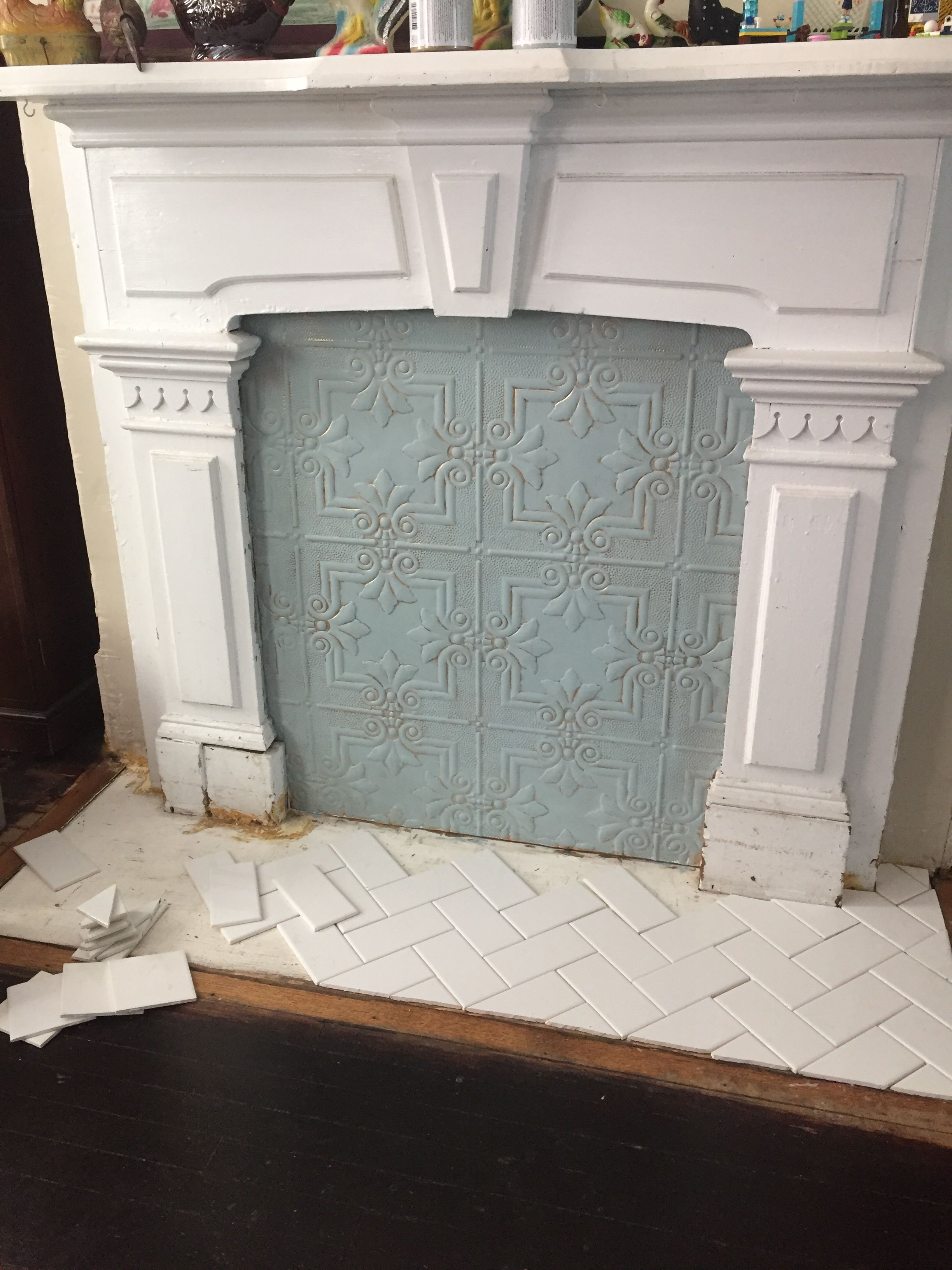 Painted Plastic Faux Tin Fireplace Cover With Herringbone Tile