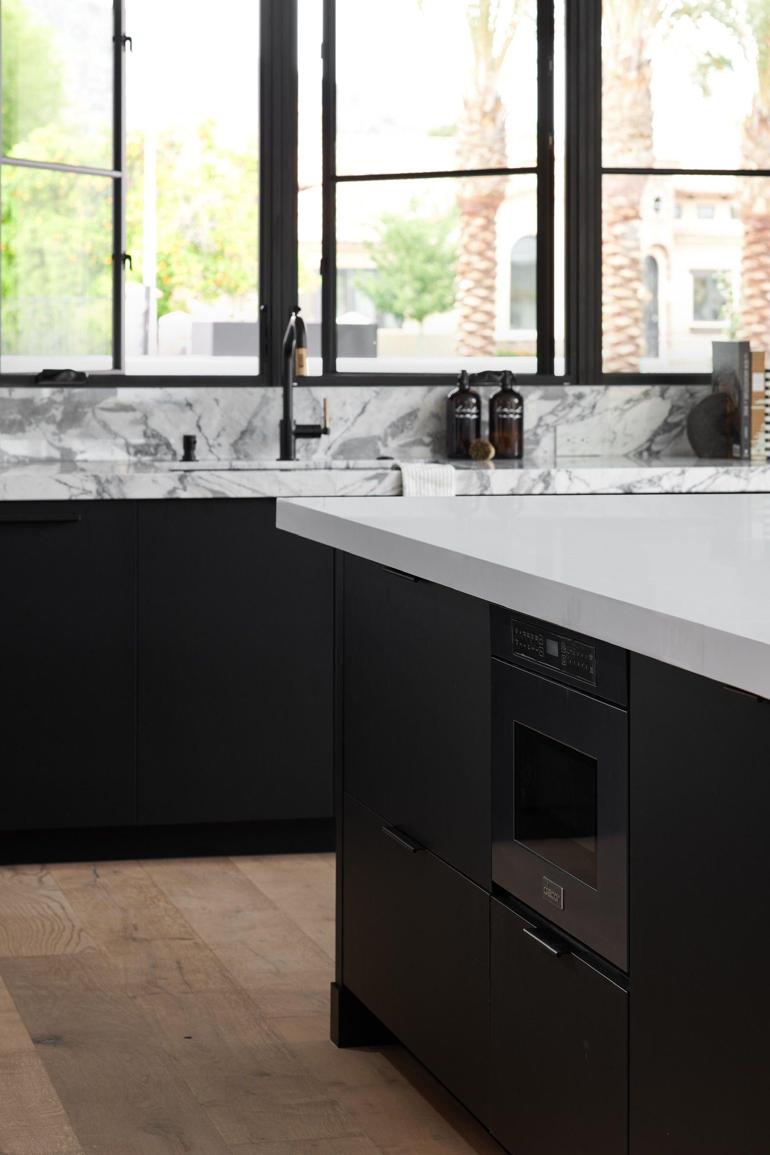 black kitchen cabinets with white countertops in 2020 modern black kitchen black kitchens on kitchen decor black countertop id=32079