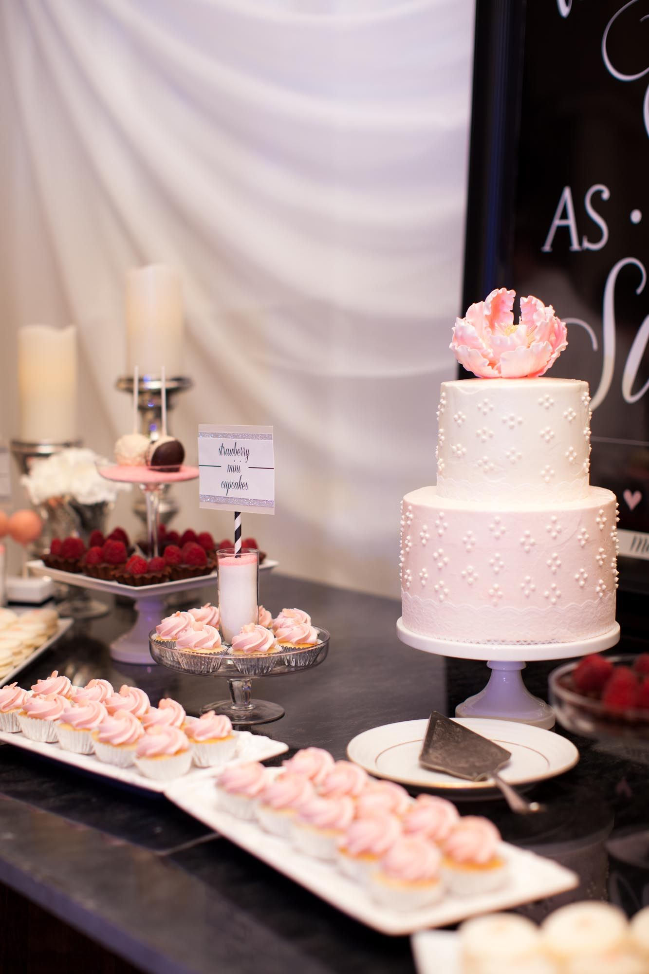 mini cupcakes pretty pink and white wedding dessert table buttercream cutting cake with little. Black Bedroom Furniture Sets. Home Design Ideas
