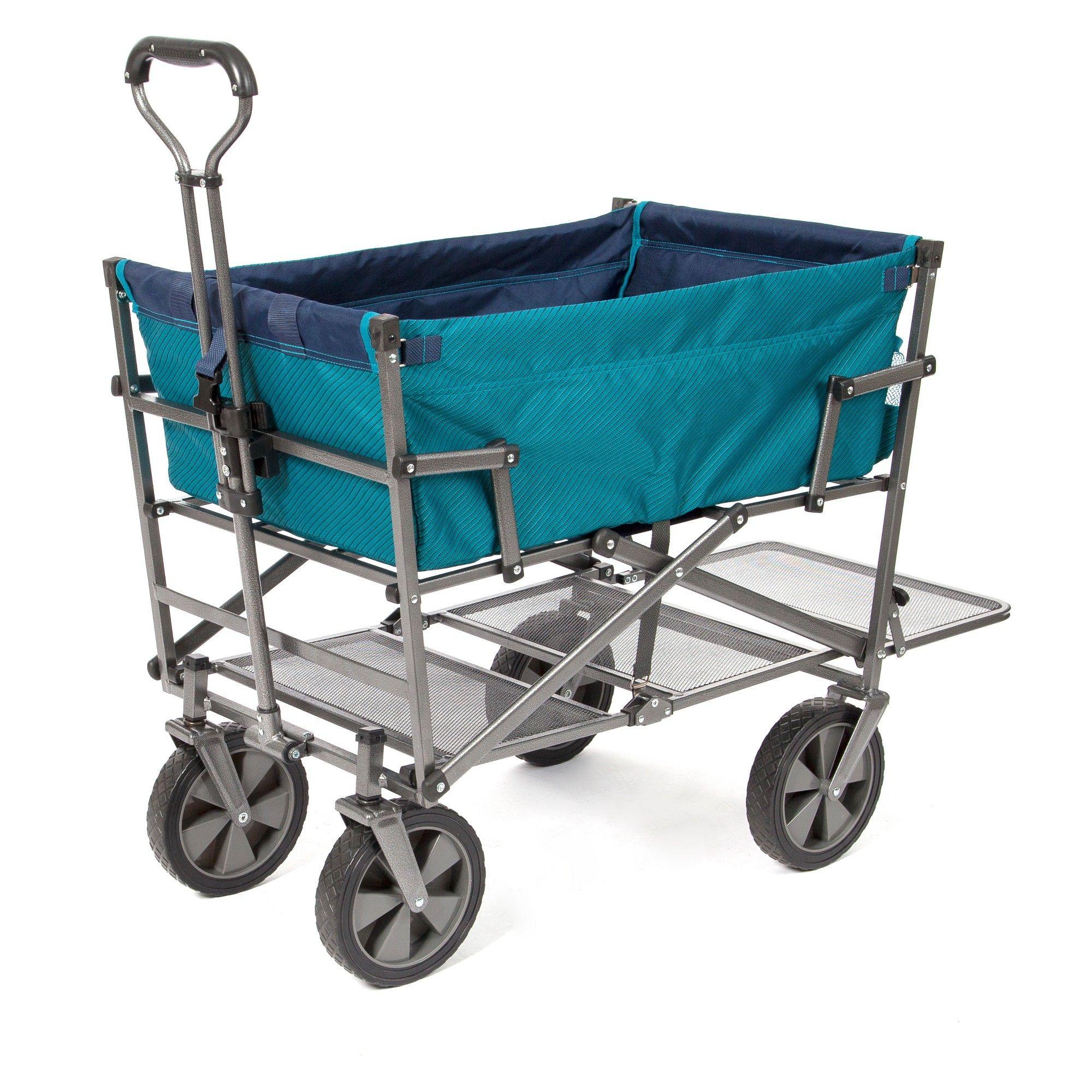 Mac Sports Double Decker Wagon Teal Folding Wagon Utility