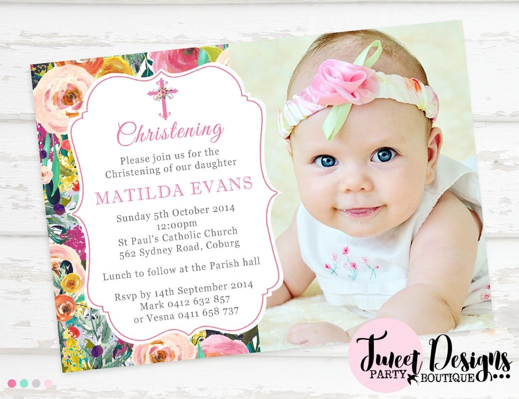 Watercolor Flowers Christening Invitation Girl Christening
