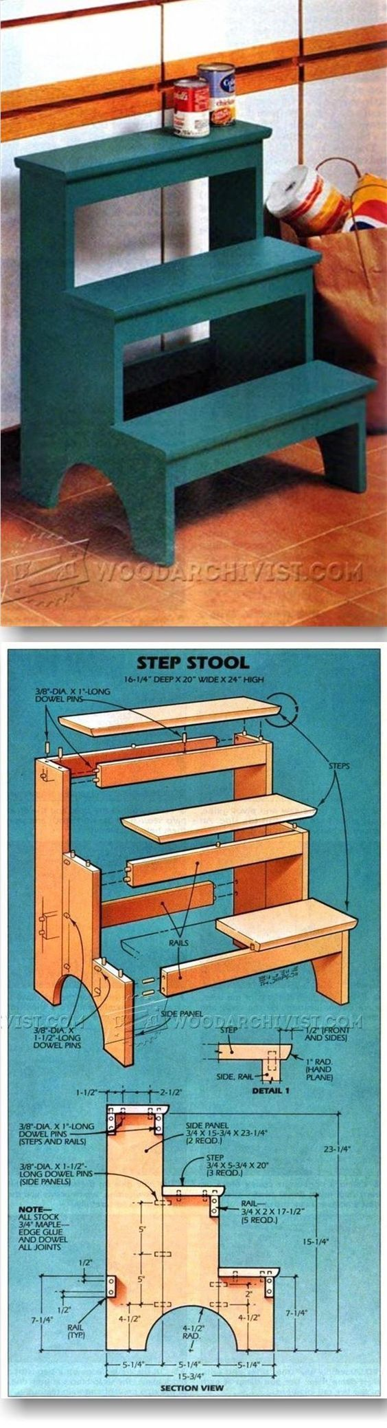 Kitchen Step Stool Plans Furniture Plans And Projects Woodarchivist Com Hout Creaties Hout Diy Houtwerk