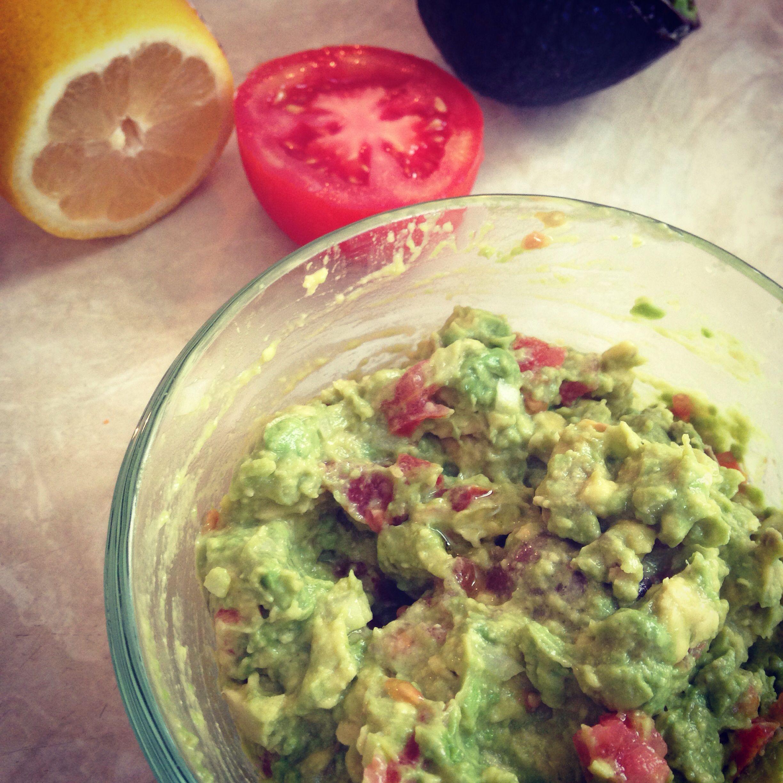 guacamole. one ripe avocado, 1 tsp minced onion, tbs chopped tomato, 1tbs lemon juice. salt and pepper