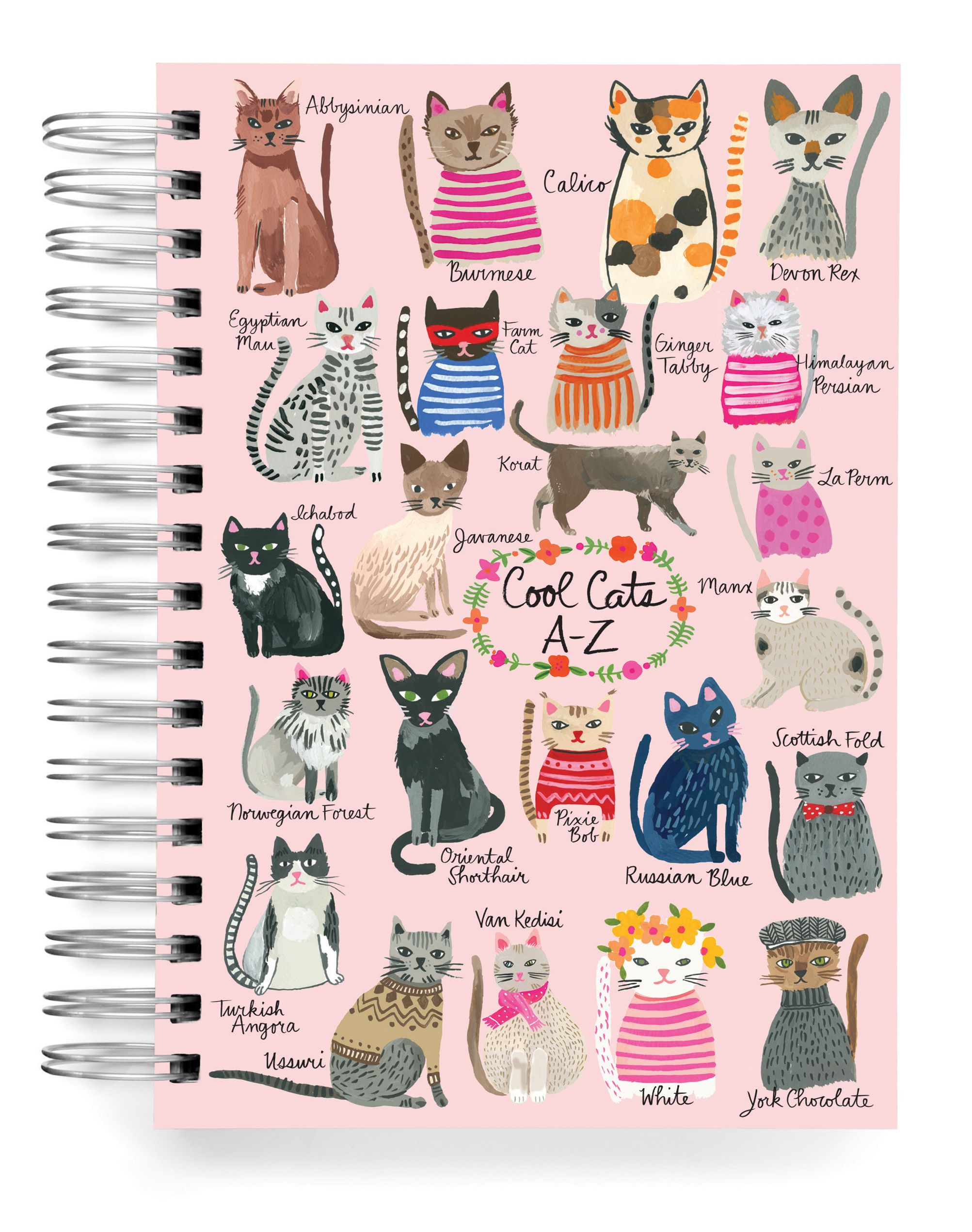 Journals 5x7 Journals Cool Cats A Z Journal 5x7 Ecojot Eco Savvy Paper Products Illustration Graphique Chien Chat Chat