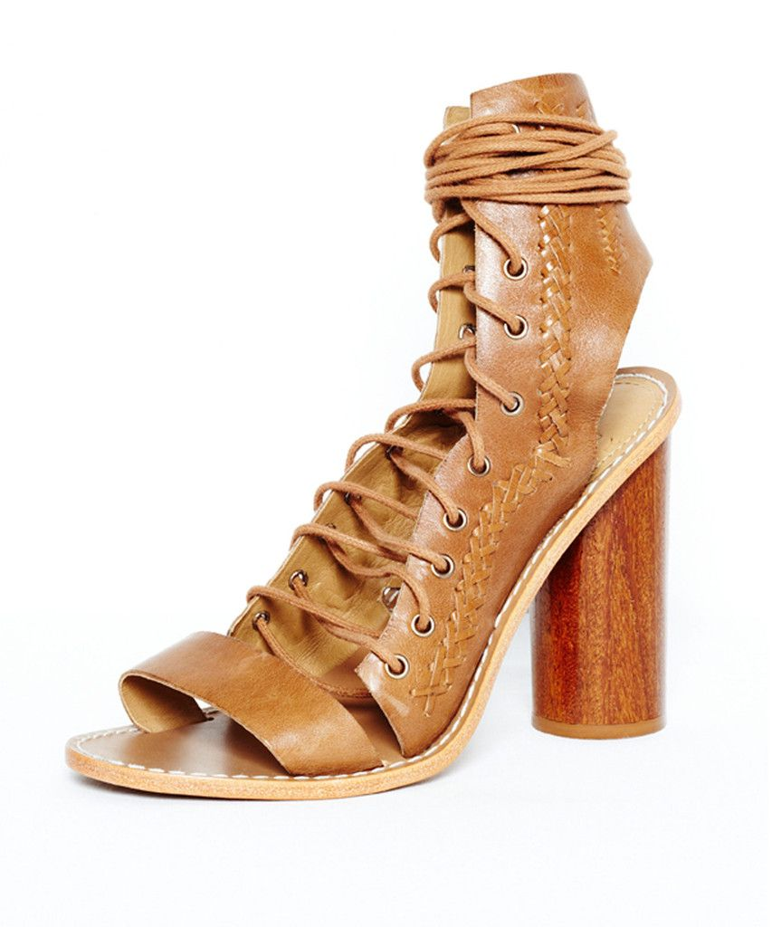 ELLERY echelle open lace-up shoe | SHOP NOW > http://www.threadbare.co/collections/ellery/products/echelle-open-lace-up-shoe-2 #ellery #laceup #sandal #heel #tan #leather #wooden