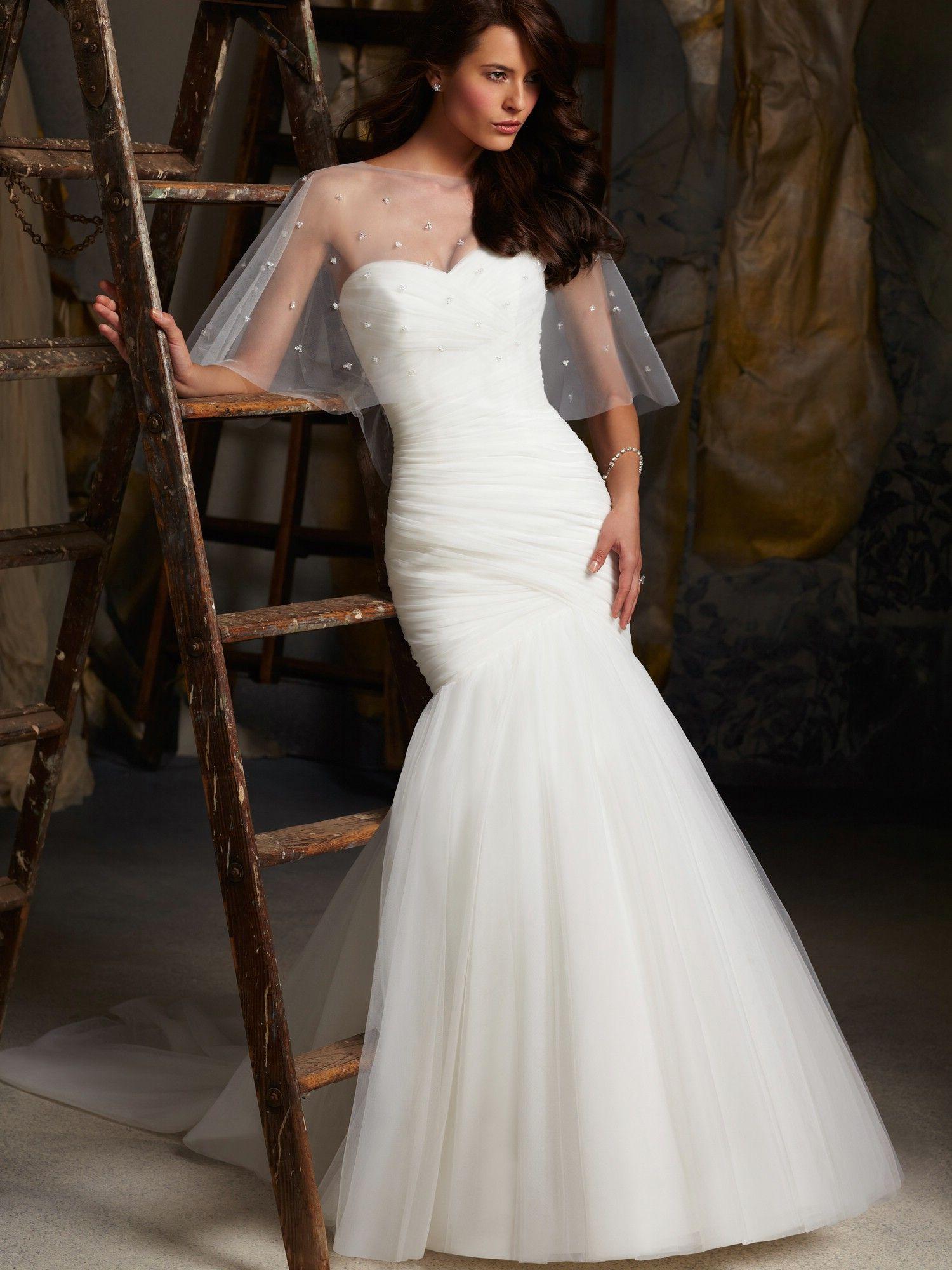 926f10fa4b9 sweetheart neckline tulle ruched bodices mermaid wedding dress sweep train. mori  lee 5108
