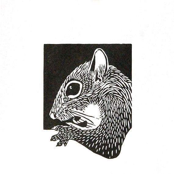 Linocut animals squirrel eekhoorn hand printed wall art matted