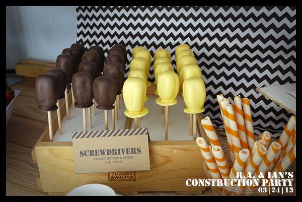 screwdriver cake pops construction party pinterest geburtstag dekorieren und cake pops. Black Bedroom Furniture Sets. Home Design Ideas