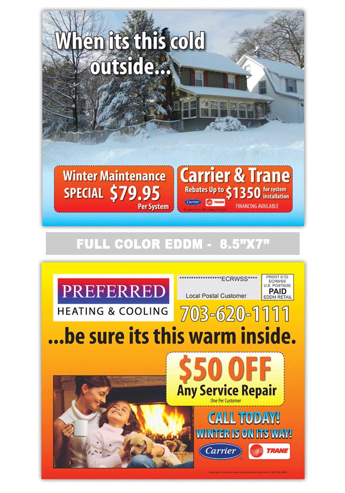 Air Conditioning Heating Postcard Sample Printing Labels Postcard Heat