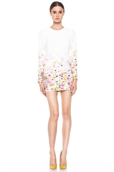 MSGM  Fitted Floral Ombre Dress in White