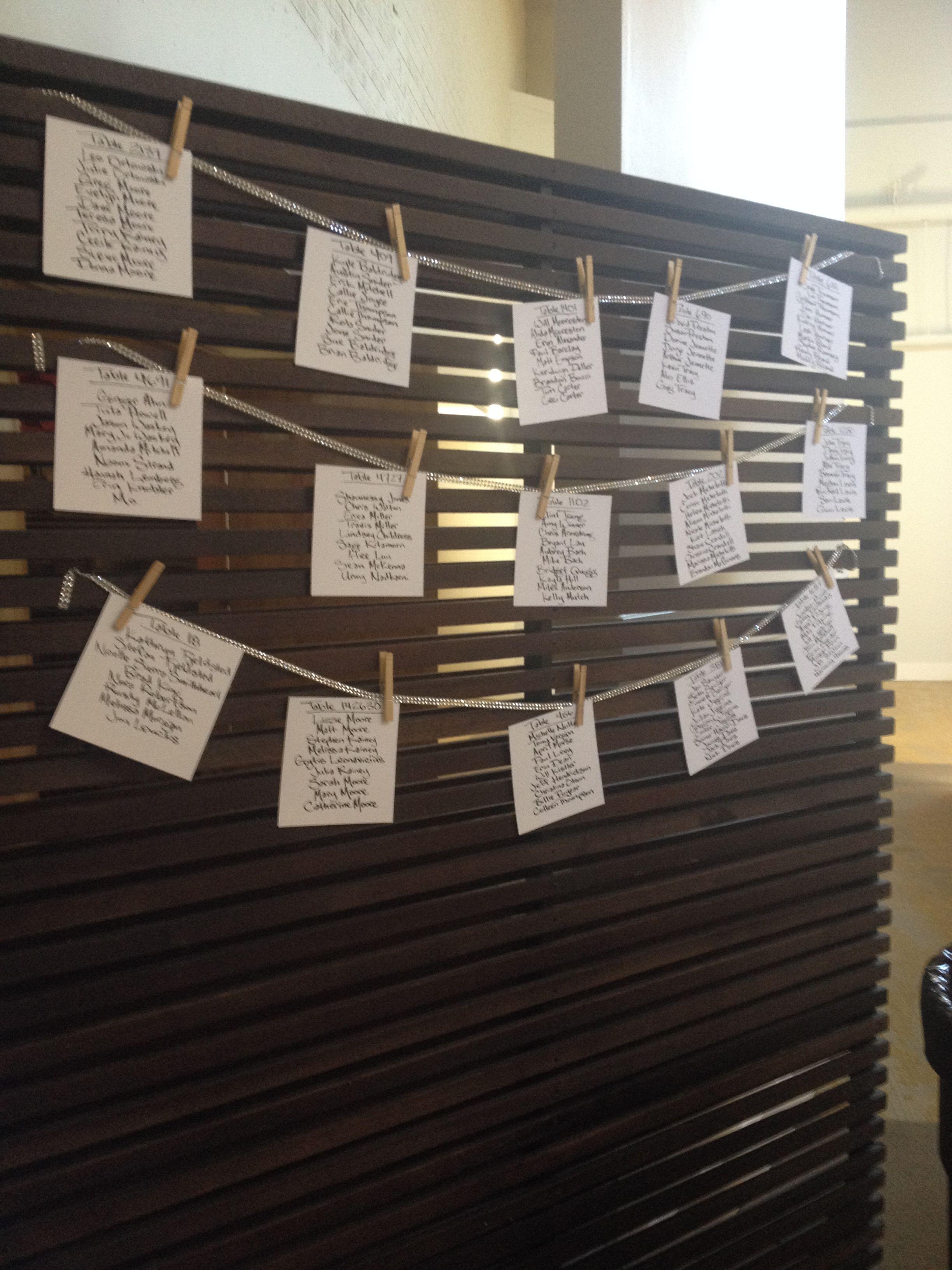 Alida & Will 9/10/14 Fun hanging seating chart