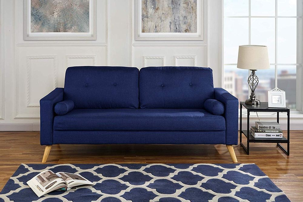 Modern Living Room Fabric Sofa Lounge Room Couch With Tufted Buttons Dark Blue 662187615738 Sofa Design Scandinavian Design Living Room Rustic Living Room