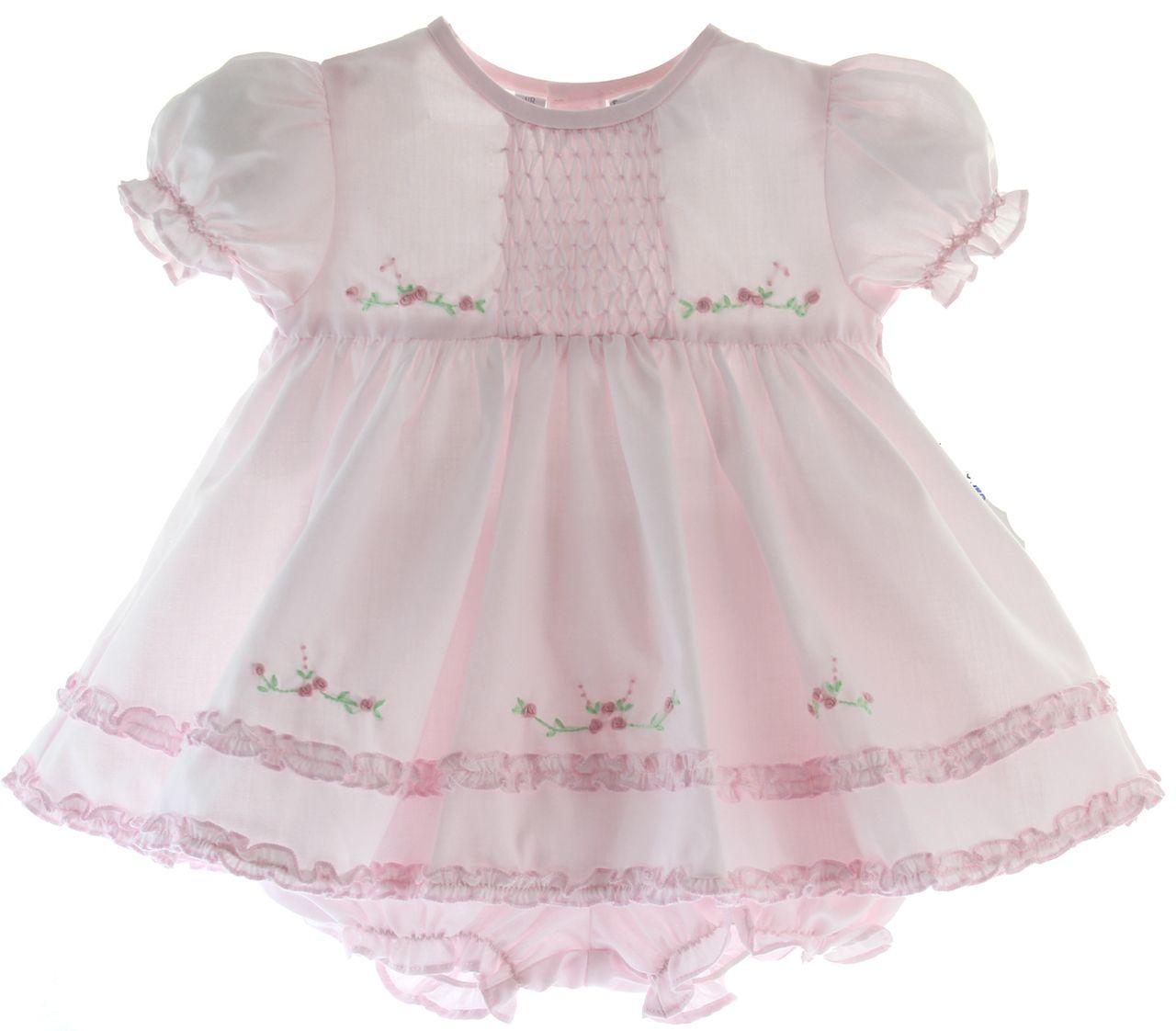 Pink dress baby  Baby Girls Pink Dress u Bloomer Set  Friedknit Creations by Feltman