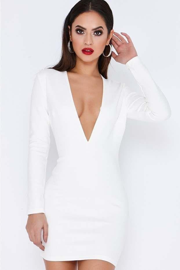 White Suede Plunge Mini Dress Plunge Mini Dress Mini Dress Dresses
