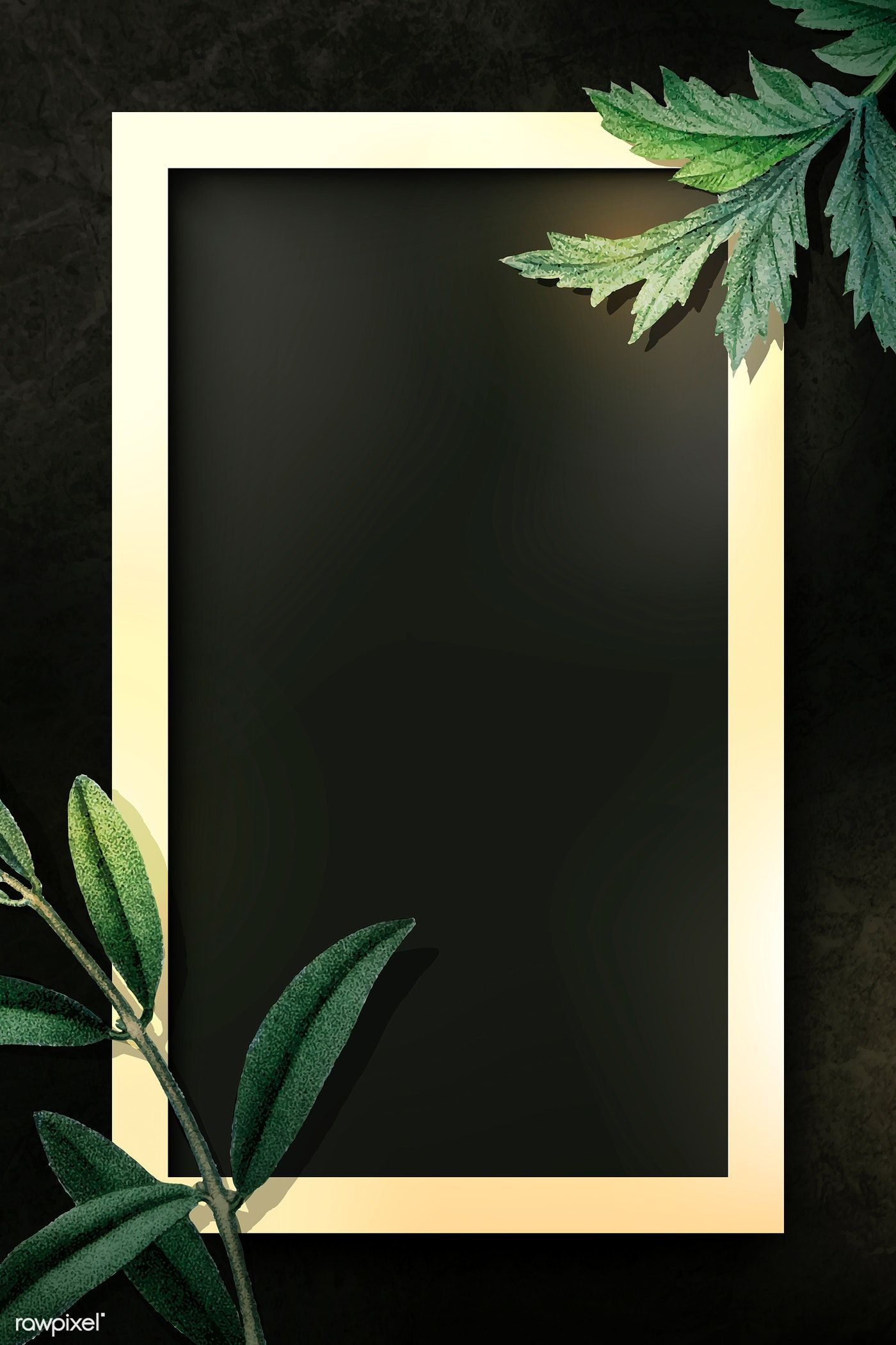 Download Premium Vector Of Rectangle Gold Frame With Green Leaves On Black Flower Background Wallpaper Floral Border Design Cherry Blossom Background