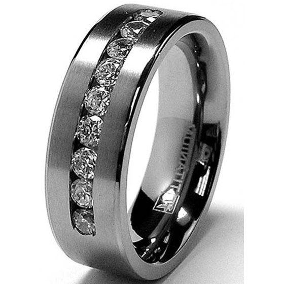 Ringwright Co 8 Mm Men S Titanium Ring Wedding Band With 9 Large Channel Set Cubic Zirconia Cz Sizes 6 To 15 Walmart Com Titanium Wedding Band Mens Mens Wedding Rings Titanium Rings For Men