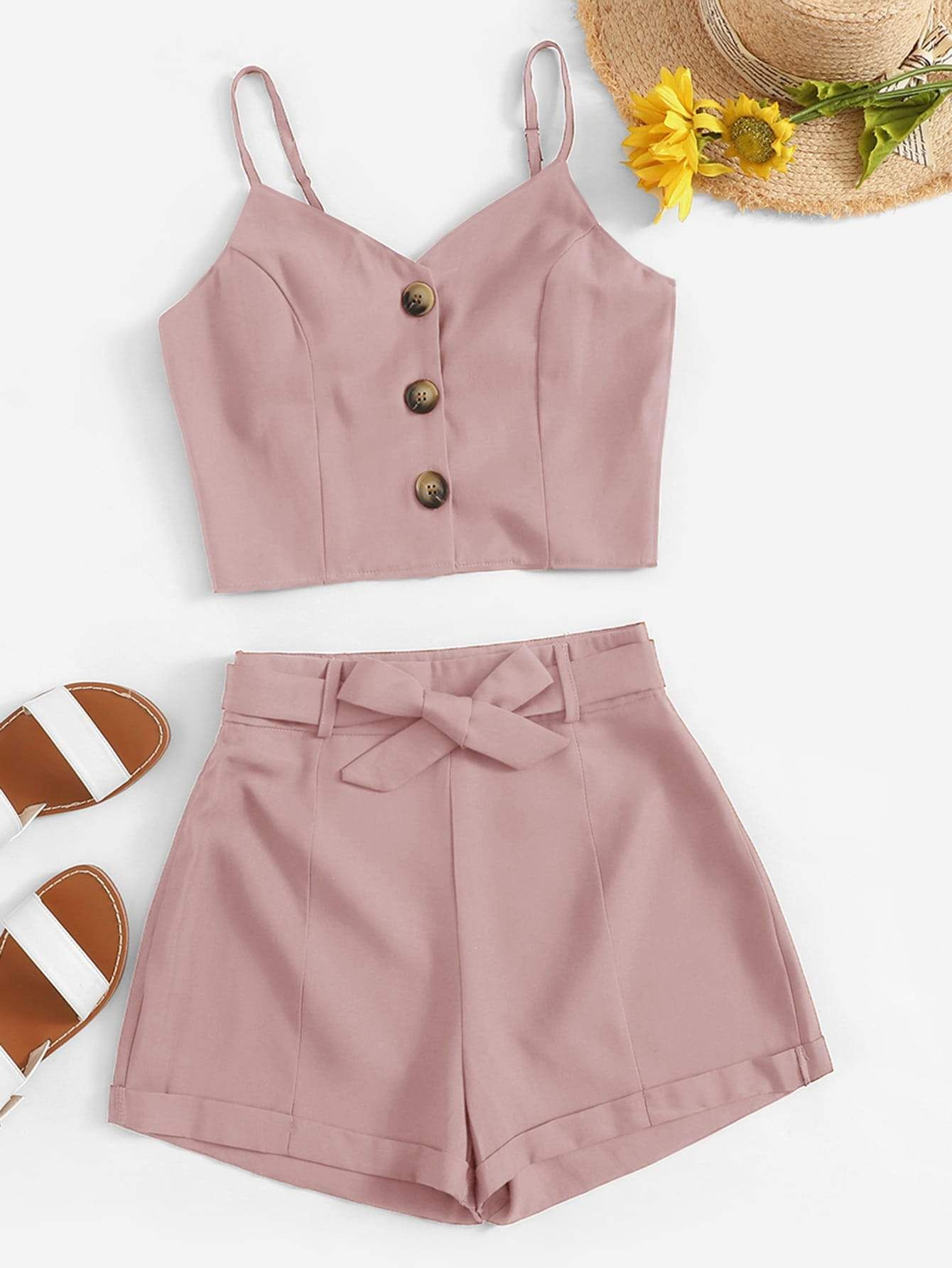 Button Front Cami Top With Belted Shorts 2