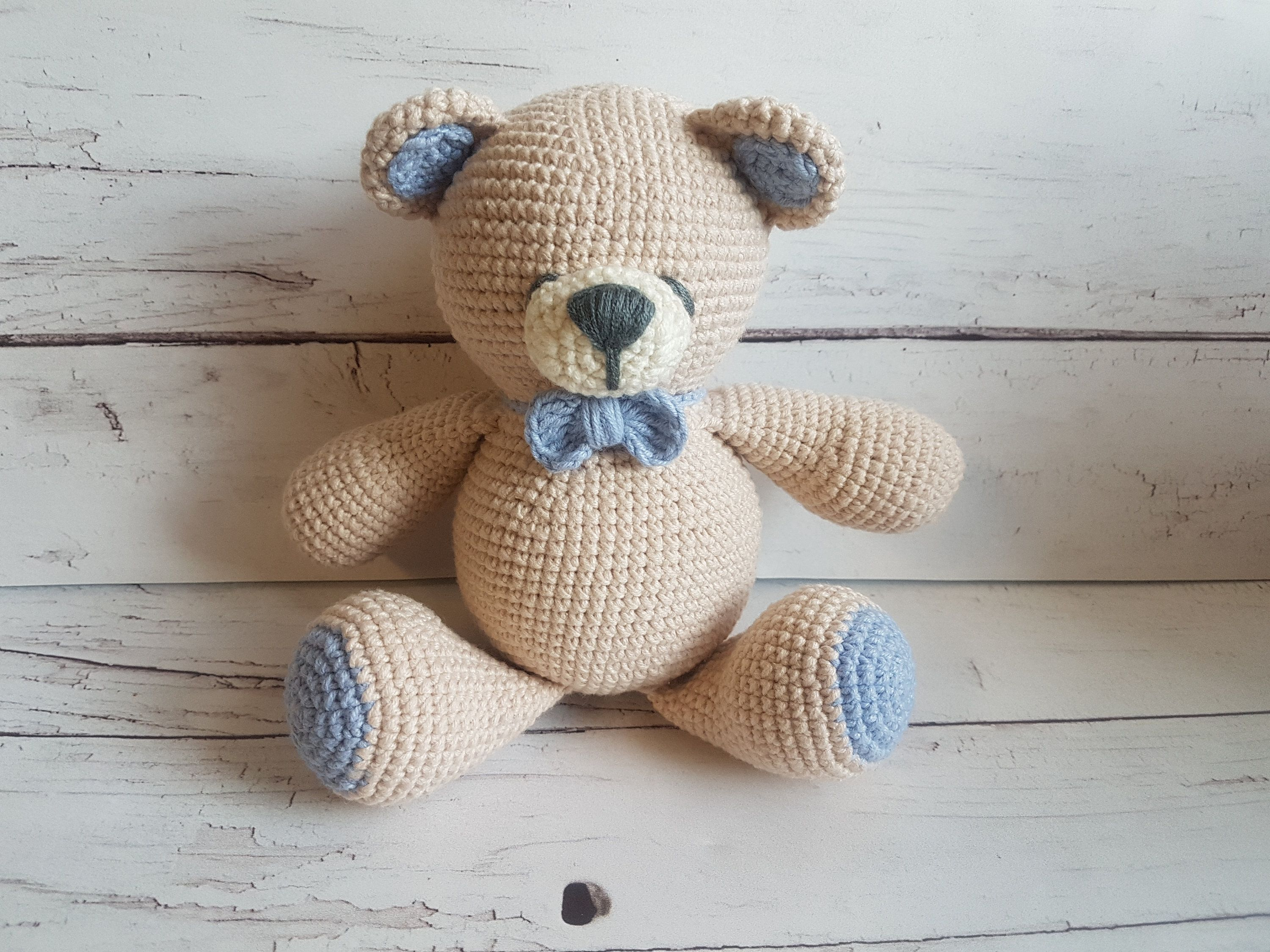 Free Amigurumi Crochet Bear Pattern, Brown and Blue Colored - Free ... | 2250x3000