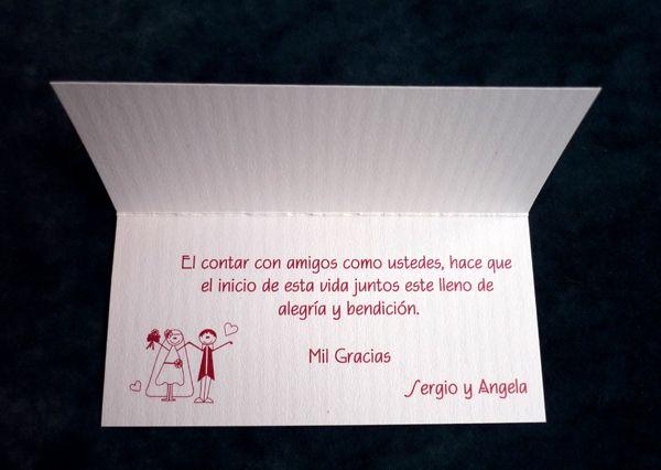 Tarjeta de agradecimiento dise os personalizados para - Disenos tarjetas de boda ...
