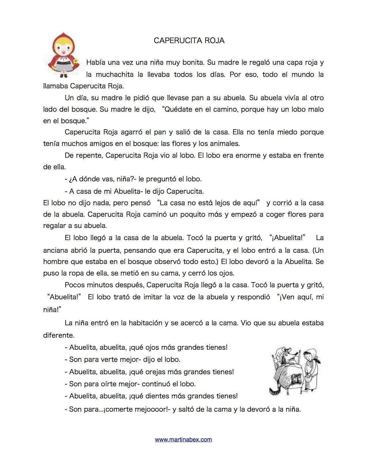Caperucita Roja Worksheet Answers Caperucita Roja The